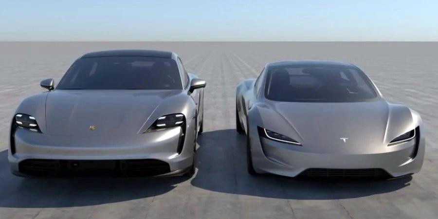 Taycan и Tesla Roadster