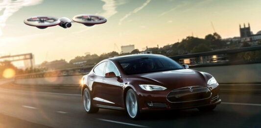 tesla and drone