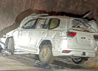 Toyota Land Cruisers crash